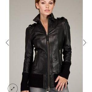 : Mackage Black Leather Nev Bomber Jacket